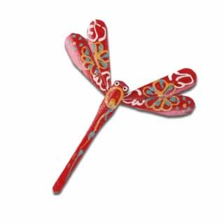 Red Gorgeous hand crafted and hand painted Bamboo dragonfly