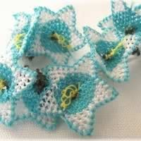 Blue Starflower Oya Lace Notions, handcrafted individual flowers