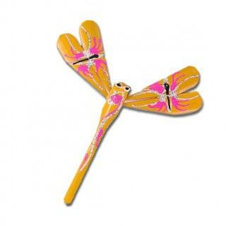 Yellow Gorgeous hand crafted and hand painted Bamboo dragonfly