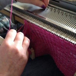 knitmaster knitting machines Testing Fira Fuschia lace weight yarn